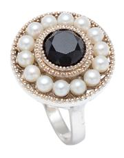 Sale 9031H - Lot 42 - A Tiffany and Co Ziegfeld Collection Silver Onyx and Cultured Freshwater Pearl ring, size M1/2, with pouch and box. -