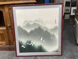Sale 9094 - Lot 2050 - Chinese School, Flying Cranes, ink and watercolour, frame: 85 x 79 cm (A.F)