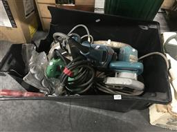 Sale 9101 - Lot 2148 - Tub of Power & Other Tools incl. Bosh Angle Grinder, etc