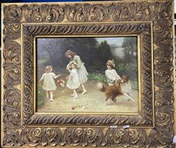 Sale 9135 - Lot 2040 - Artist Unknown An Edwardian Scene of Children Playing oil on panel, 58 x 67cm (frame)