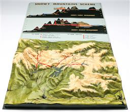 Sale 9168 - Lot 32 - A topographic map of The Great Dividing Range together with a Snowy Mountain scheme (46.5cm x 36cm)