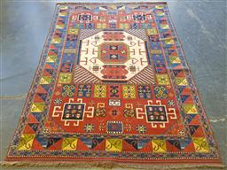 Sale 9174 - Lot 1009 - Possibly Afghan Kazak with multi-coloured squares & triangles (300 x 200cm)