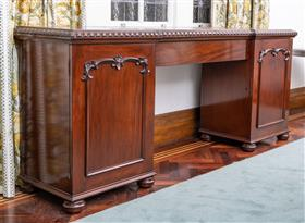Sale 9195H - Lot 38 - A C19th mahogany breakfront sideboard of classical form, Height 92.5cm x Width 218cm x Depth 54cm