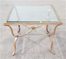 Sale 9255 - Lot 1365 - Metal based lamp table with glass top (h:51 x w:65 X D:65CM)