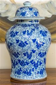 Sale 8259A - Lot 88 - A  Chinese Inverted Baluster Shaped Lidded Vase, modelled with a drop in lid, and decorated with floral sprays, h 45cm