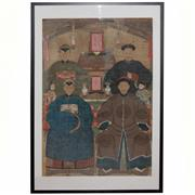 Sale 8396C - Lot 32 - Qing Dynasty Six Person Generational Ancestor Portrait