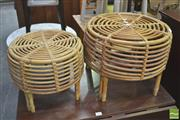 Sale 8406 - Lot 1046 - Pair of Cane Footstools
