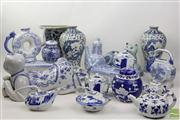 Sale 8473 - Lot 76 - Crackle Glaze Chinese Boy Pillow Together with Other Blue and White Ceramics inc Ginger Jars