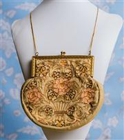 Sale 8577 - Lot 58 - An original antique 1930s Art Nouveau silk embroidered floral purse with long 24k gold chain, silk lining and amber glass kiss clas...