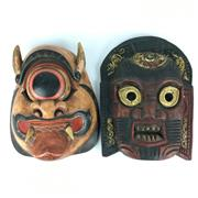 Sale 8607R - Lot 93 - Decorative Timber Tribal Masks (H: 25cm) -