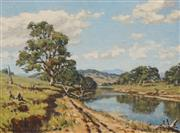 Sale 8606 - Lot 505 - Howard Barron (1900 - 1991) - Quiet River, Murrumbidgee River 22 x 30cm