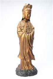 Sale 8670 - Lot 123 - Carved Timber & Gilt Quan Yin height 63cm