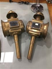 Sale 8724 - Lot 1049 - Pair of Brass Carriage Lamps, with pierced tops (crack to one glass)