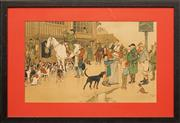 Sale 8759 - Lot 2022 - Cecil Aldin (1870 - 1935) - The Hare & Hounds 36 x 59cm