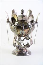 Sale 8952 - Lot 41 - Italian 800 Silver Lidded Sugar With Spoons On a Cherubic Base H: 14cm
