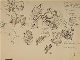 Sale 9099A - Lot 5049 - Donald Friend (1915 - 1989) Sketch Page (double sided) ink on paper (AF - tears and creases) 27 x 36.5 cm (frame: 40 x 49 x 4 cm) un...