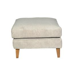 Sale 9140F - Lot 114 - A light grey corduroy ottoman with timber legs. Dimensions: W70 x D85 x H48 cm