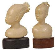 Sale 7978 - Lot 77 - Ivory Carved Busts of Two African Girls