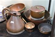 Sale 8276 - Lot 85 - Copper Colander with Other Copper Wares incl. Pots