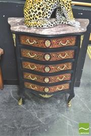 Sale 8302 - Lot 1002 - Marble Top Serpentine Front Chest of Drawers