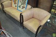 Sale 8331 - Lot 1068 - Salmon Upholstered Three Piece Lounge Suite
