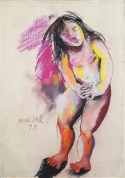 Sale 8466A - Lot 5072 - Anne Hall (1946 - ) (2 works) - Standing and Crouched Nude, 1978 101 x 70cm, each (sheet size)