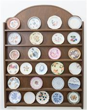 Sale 8515A - Lot 3 - A collection of pin dishes, various makers, on a timber wall mount, H of wall mount 60cm