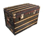Sale 8522A - Lot 5 - An antique French large steamer trunk circa 1900, finished in Damier checker board canvas with polished brass hardware, some old dam...