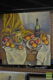 Sale 8530 - Lot 2082 - Artist Unknown, Still Life - Apples and Oranges, 76.5 x 71cm, unsigned -