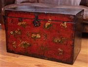 Sale 8891H - Lot 20 - An oriental painted elm chest with floral and insect design, Height 50cm x Width 79cm x Depth 45cm