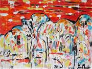 Sale 9062A - Lot 5016 - Yosi Messiah (1964 - ) - Red Hillside 75 x 100 cm