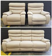 Sale 8996 - Lot 1090 - Modern Leather 3 Piece Lounge Suite incl. 2 Armchairs and 3 Seater Sofa (Sofa - H: 100 x W: 215 x D: 100cm)