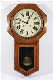 Sale 9010 - Lot 13 - A Seth Thomas Painted Dial Timber Framed Wall Clock (L:81 W:43cm), (With Pendulum)