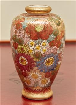 Sale 9098H - Lot 19 - A Satsuma vase, signed to base decorated with chrysanthemums and daisies, Height 10cm