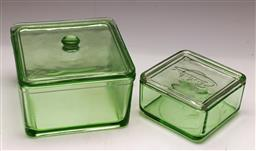 Sale 9131 - Lot 28 - Two depression green glass lidded containers (H:10cm and 6cm)