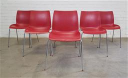Sale 9151 - Lot 1384 - Set of 6 moulded plastic chairs by OLA (h:80 x w:40 x d:44cm)