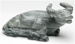 Sale 9209 - Lot 87 - Grey marble carving of a crouching water buffalo (L:22cm)