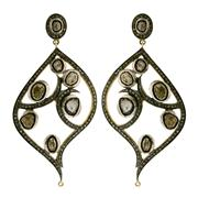 Sale 8050B - Lot 81 - A PAIR OF STERLING SILVER GILT DIAMOND EARRINGS; set with single and table cut diamonds. Length 85mm.
