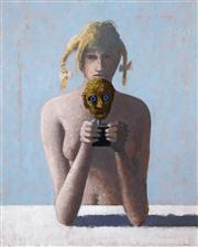 Sale 8549 - Lot 524 - Lawrence Daws (1927 - ) - Untitled (Girl and Mask) 59.5 x 75cm