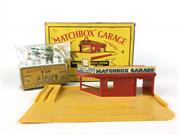 Sale 8559A - Lot 22 - Vintage Matchbox Garage, Showroom & Service Station in box, together with Accessory Pack A1 BP Garage Pumps and Signs