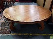 Sale 8611 - Lot 1095 - Carved Timber Coffee Table (H: 43 D: 122)