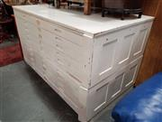 Sale 8680 - Lot 1078 - Vintage White Painted Timber 10 Drawer Map Chest
