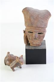 Sale 9044 - Lot 42 - Pre-Columbian Style Terracotta Figure (W: 11cm & Bust (height 23cm incl. stand)