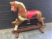 Sale 9006 - Lot 1028 - Vintage Fabric Rocking Horse (h:103 x l:120cm)