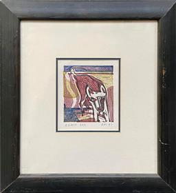 Sale 9123 - Lot 2006 - Richard Moore Beach Dog, woodblock print, 12 x 10.5 cm (frame: 41 x 48 cm), signed and dated lower left