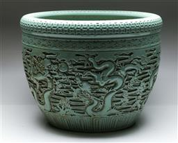 Sale 9138 - Lot 30 - A large Chinese Celadon Fish Themed Jardiniere (Height 41cm Diameter 53cm)