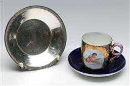 Sale 9164 - Lot 352 - Antique Sevres style duo together with a French 950 silver dish (wt 106g)