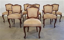 Sale 9174 - Lot 1353 - Set of 8 upholstered dining chairs inc 2 carvers (h:86 x w:52 x d:42cm)