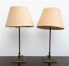 Sale 9195H - Lot 97 - A pair of brass lamps with shades, total Height 43cm