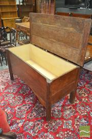 Sale 8255 - Lot 1041 - Antique Oak Coffer, with hinged cover, shaped apron & stile feet (alterations)